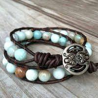 Shoreline- leather 2-wrap bracelet neutral earthy blue gemstone beads | TOWNOFBEADROCK - Jewelry on ArtFire