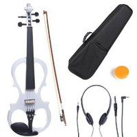 Amazon.com: Cecilio 4/4 CEVN-1W Solid Wood Electric/Silent Violin with Ebony Fittings in Style 1 - Full Size - Pearl White: Musical Instruments