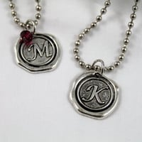 10.00 GIFTS  Best Seller Silver Chain with a Pewter Waxed Seal Monogram Charm Necklace Bridesmaid/Graduation/Teacher