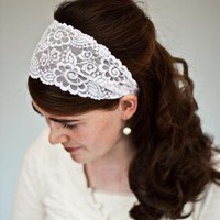 Stretch Lace headband hair band wedding veil by GarlandsOfGrace