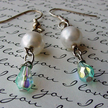 White Pearls and Pale Green Crystals Pierced by TheMermaidsSong