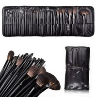 MelodySusie Natural Hair Made 32 Count Super Professional Studio Brush Set with Leather Pouch:Amazon:Beauty