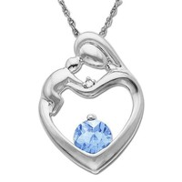 10k White Gold Blue Topaz Diamond-Accent Mother's Jewel Heart Pendant, 18""