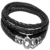 "Designer Ellis ""Infnity Bold"" 925 Sterling Silver Black Wrap Around Braided Leather Bracelet"