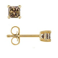 1/2 CT Princess Cut Champagne Diamond Stud Earrings 14k Yellow Gold