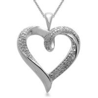 Sterling Silver Heart Pendant Necklace (1/5 cttw, I-J Color, I3 Clarity), 18""