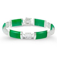 925 Sterling Silver Domed Rectangle Green Jade Bracelet