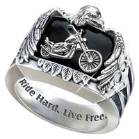 Ride Hard, Live Free Men's Biker Ring - size 9.5