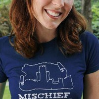 MISCHIEF MANAGED Women&#x27;s American Apparel fitted tee