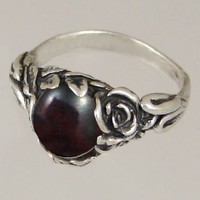 An Elegant Sterling Silver Gothic Ring Featuring a Lovely Bloodstone Gemstone Made in America