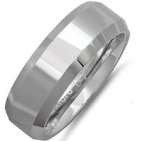 8mm Beveled Edge Comfort Fit Tungsten Carbide Wedding Band ( Available Ring Sizes 8-12 1/2) sz 9