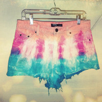 High Waisted Denim Jean Shorts.....Dip Dyed/ Tie Dyed/ Ombre Size 31