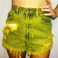 High Waisted Denim Shorts.....Ombre Yellow by ForeverHipsterCo