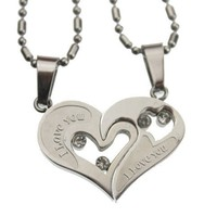 Lovers /Couple Heart Pendant Set, Stainless Steel