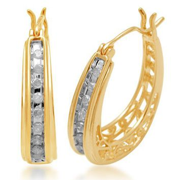18k Gold Plated Sterling Silver Diamond Earring (1/4 cttw, I-J Color, I3 Clarity)