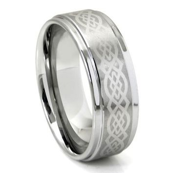 Tungsten Carbide 9MM Wedding Band Ring w/ Laser Etched Celtic Knot Design Sz 13.0