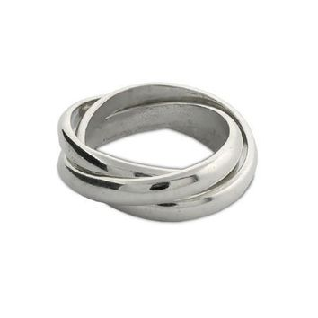 Sterling Silver Triple Roll Russian Wedding Ring Size 12 (Sizes 5 6 7 8 9 10 11 12 Available)