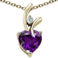1.95 cttw Original Star K(tm) Genuine Heart Shaped Amethyst Pendant in 14k Yellow Gold Plated Silver