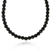 8mm Faceted Round Black Onyx Bead Necklace, 60&quot;