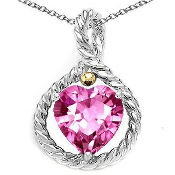 3.00 cttw 925 Sterling Silver and 18k Gold Two Tone Lab Created Heart Shape Pink Tourmaline Pendant