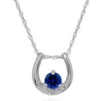 10k White Gold Created Blue Sapphire and Diamond Horseshoe Pendant (.01 cttw, I-J Color, I1 Clarity), 17""