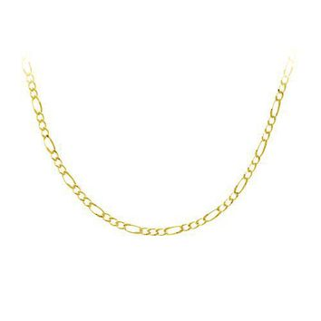 18k Yellow Gold Plated Sterling Silver 060-Gauge Figaro Chain Necklace, 24""