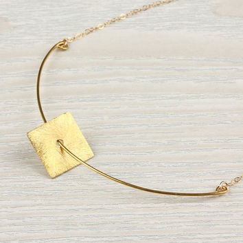 """Square Gold necklace, diamond shape necklace, curved bar necklace, geometric necklace, 14k gold filled, bridesmaid necklace, """"Nereids"""""""