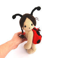 ladybug doll amigurumi spring ladybug red black polkadot toy for children insects garden gardening softie doll plushie sculpture