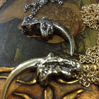 Oxidized Eagle Claw Necklace ( Bronze, White Brass)
