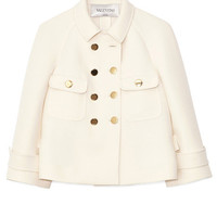 Avorio Wool Drill Couture Pea Coat by Valentino for Preorder on Moda Operandi