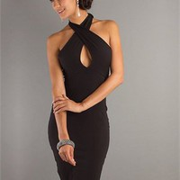 halter Slim-line open back black Knee-Length Prom Dress PD0248