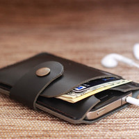 iPhone Wallet Case Mini Charcoal Black Leather 4 or 4s -- Black Hand-Stitching