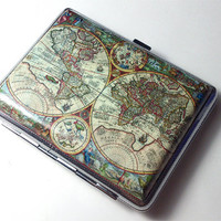 Vintage Antique Nova World Map Cigarette Case Wallet Card Holder