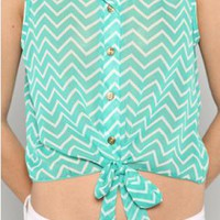 Mint & White Chevron Tie Button Down Crop Top
