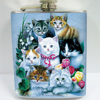 Cute Kittens  7 oz  Stainless Steel Flask