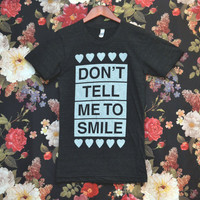SMALL Don't Tell Me to Smile Anti Street Harassment Black Tri-Blend Shirt