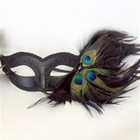 Venetian Feathers Half Face Mask