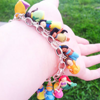 Disney Princess Clay Silver Charm Bracelet by KneramKnickKnacks