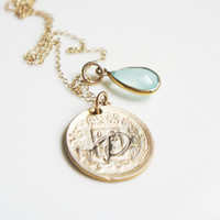 Gold Initial Antiqued Coin Necklace Mint Green Chalcedony Gemstone Gold Vermeil Monogram Jewelry