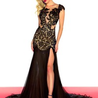 2013 Sexy Black Red Mermaid Lace Backless Prom Dress Wedding Party Evening Dress