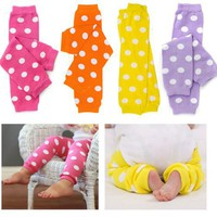 (205) Polka Dot 4 Pack baby girl toddler child leg warmers in Orange, Yellow, Lavender & Pink by My Little Legs