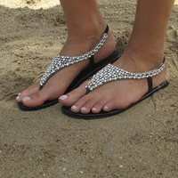 Black sandals with pearls and swarovski stones (Annabella) from Chockers Shoes