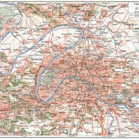 Map of Paris and the suburbs Wall Mural