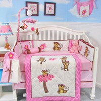 SoHo Pink Monkey Party Baby Crib Nursery Bedding Set 13 pcs included Diaper Bag with Changing Pad & Bottle Case