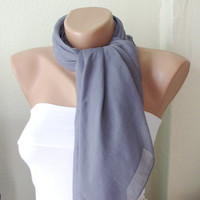 Grey Coton Spring Scarf by Periay on Etsy