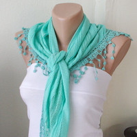 Green Raw green Cotton Scarf with Pine flower Lace by Periay