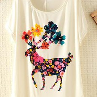 Colorful Sika Deer Print Batwing Loose T-shirt