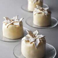 Four Mini Poinsettia Cheesecakes
