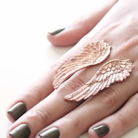 Wildfox Couture Jewelry Wing Ring with Crystal Accents in Rose Gold
