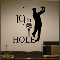 Vinyl Wall Lettering Golf Quote 19th Hole Sports by WallsThatTalk